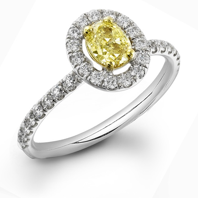 Fancy Intense Yellow Diamond Oval Halo Micro Pave Engagement Ring