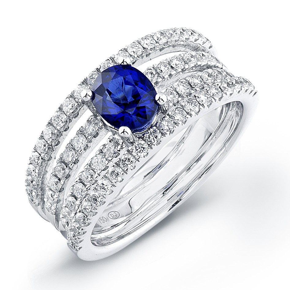 Oval Engagement Rings on Oval Sapphire Four Row Micro Pave Engagement Ring   Engagement   Rings