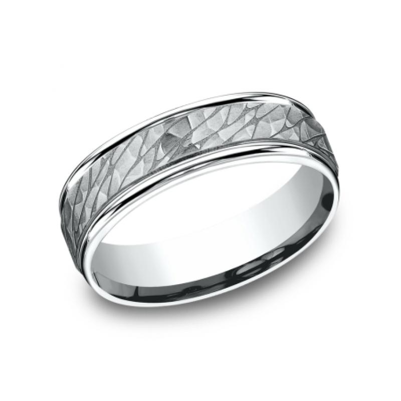 BENCHMARK Mens White Gold Wedding Band RECF8465393W