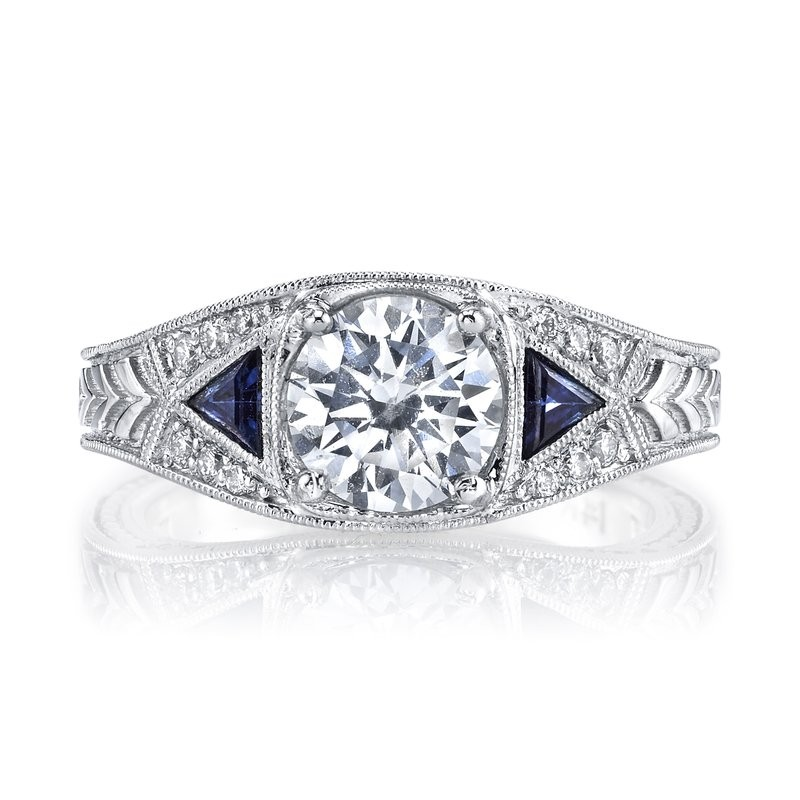 MARS 14586 Diamond Engagement Ring 0.30 Ct Dia, 0.24 Ct Saph.
