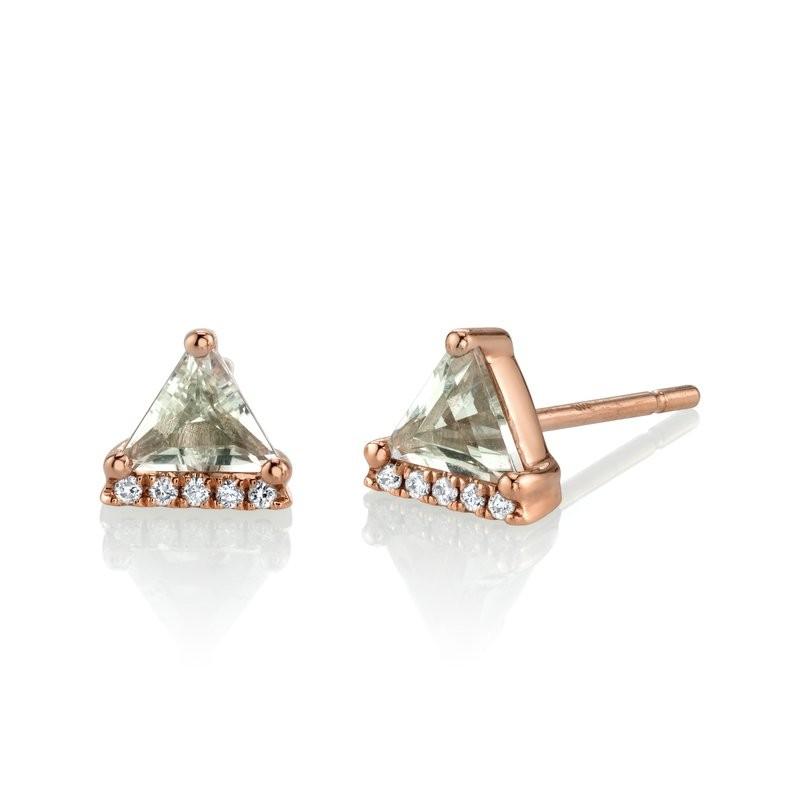 MARS Stud Earrings, 0.04 Dia, 0.67 Green Am.