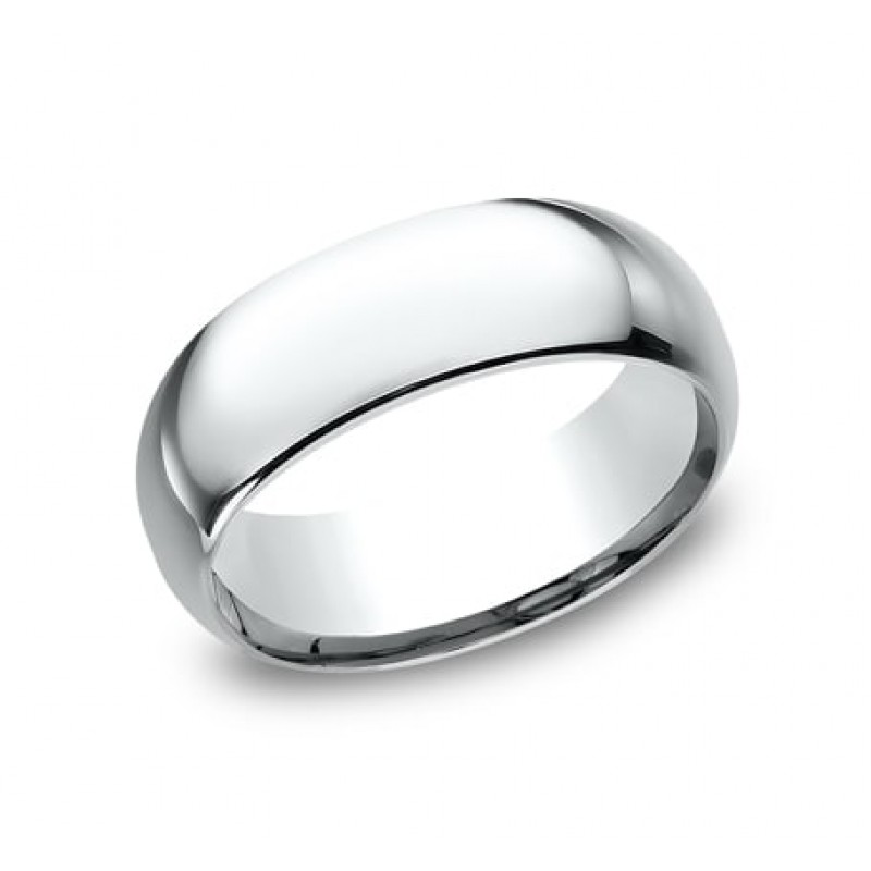 CLASSIC Mens 14k White Gold Wedding Band LCF180W