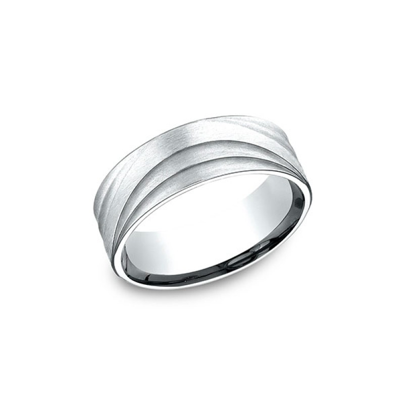 AMMARA STONE Mens 14k White Gold Wedding Band CF497760W