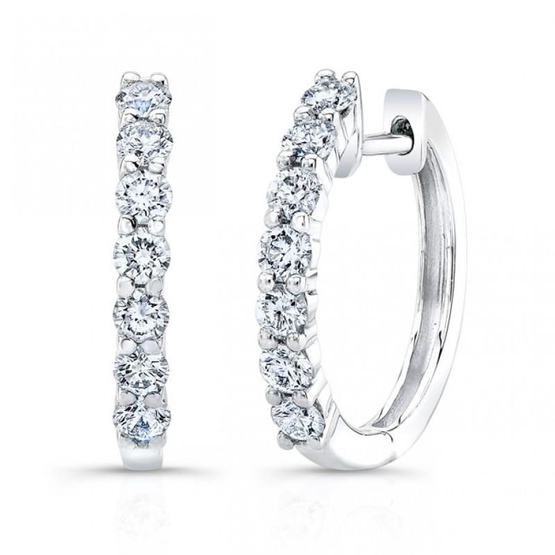 18k Round Brilliant Diamond Hoop Earrings