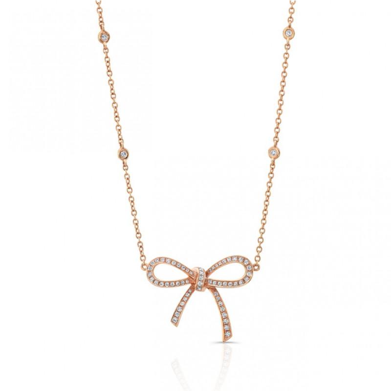 18K Diamond Bow Necklace