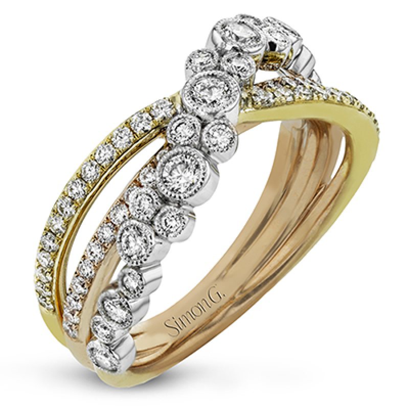 18K WHITE & YELLOW & ROSE GOLD, WITH WHITE DIAMONDS. DR361 - RIGHT HAND RING