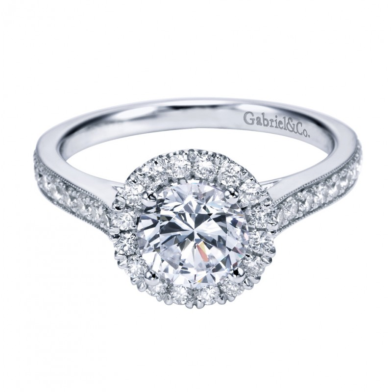 Gabriel Co 14K White Gold Contemporary Halo Engagement Ring