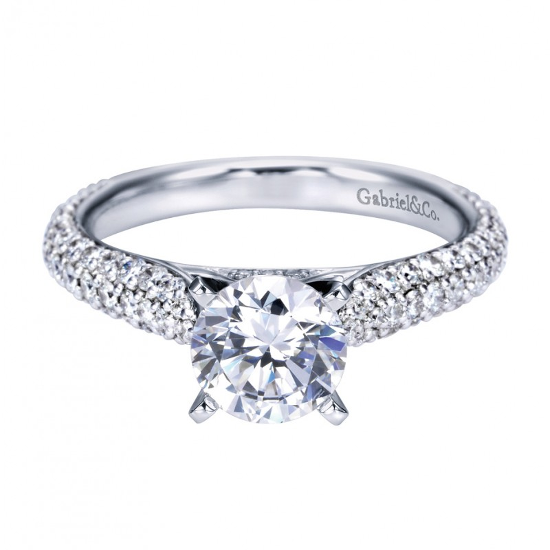 Gabriel Co 14K White Gold Contemporary Straight Engagement Ring