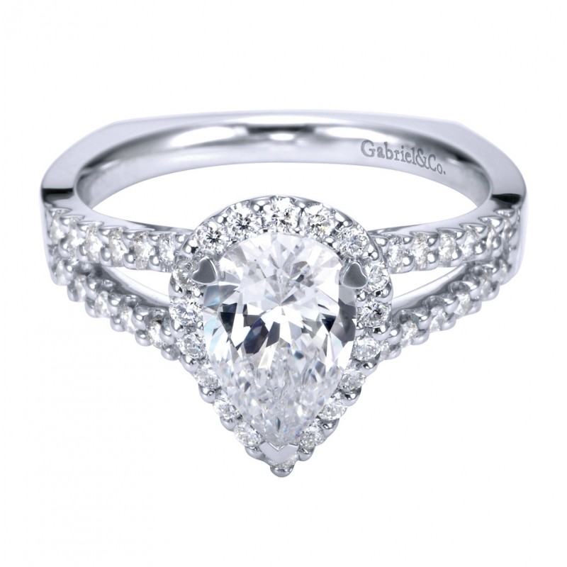 Gabriel Co 14K White Gold Contemporary Pear Halo Engagement Ring