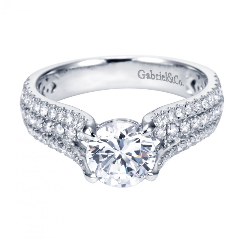 Gabriel Co 14K White Gold Contemporary Split Shank Engagement Ring