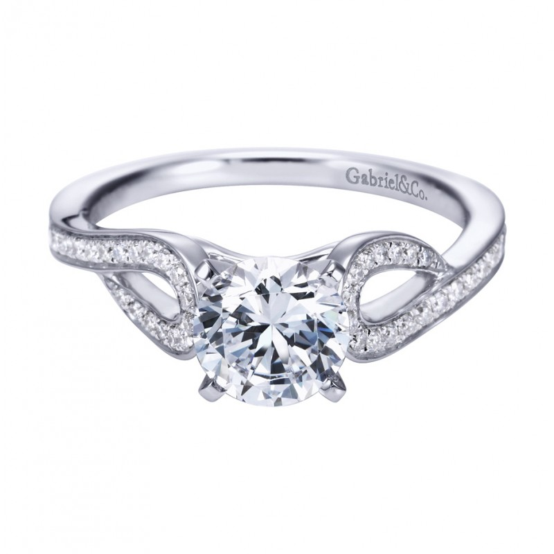 Gabriel Co 14K White Gold Contemporary Swirling Split Shank Engagement Ring