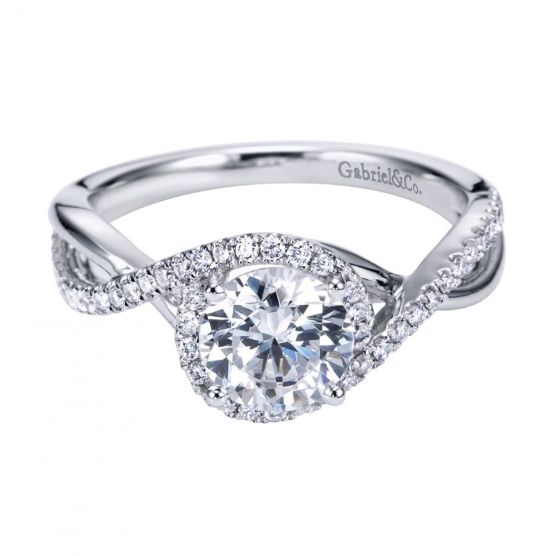 Gabriel Co 14K White Gold Contemporary Criss Cross Engagement Ring
