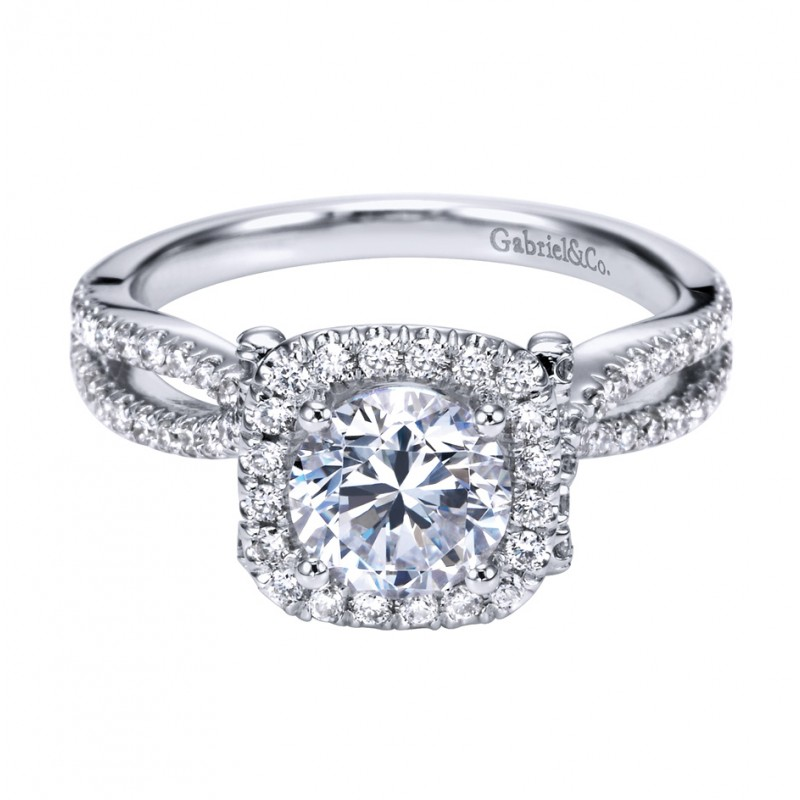 Gabriel Co 14K White Gold Round Halo Engagement Ring