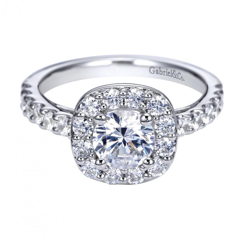 Gabriel Co 14k White Gold Prong Set Halo Engagement Ring