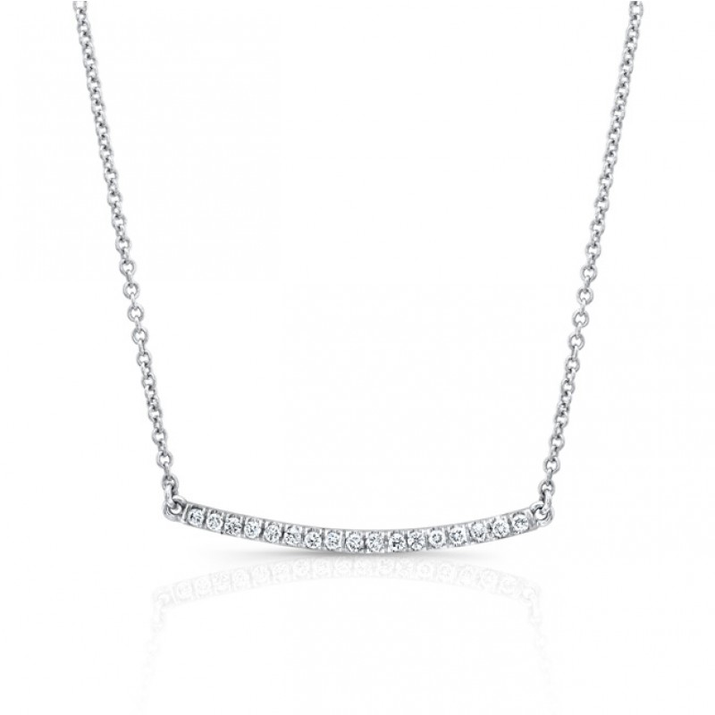 14K Diamond Curved Bar Necklace