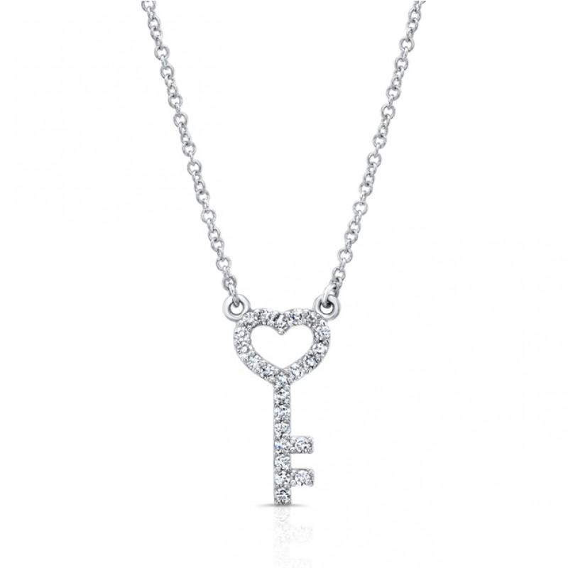14K Petite Heart & Key Necklace