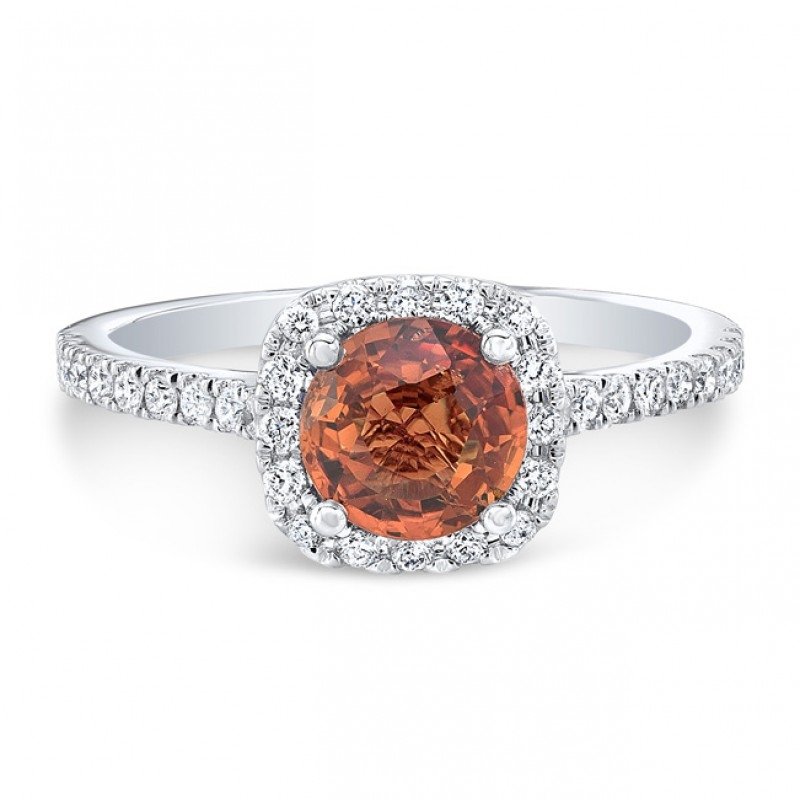 18K White Gold 1.05ct Round Cut Orange Sapphire Ring