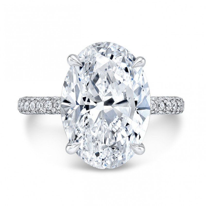 3 Row Diamond Pavé Ring with Oval Center