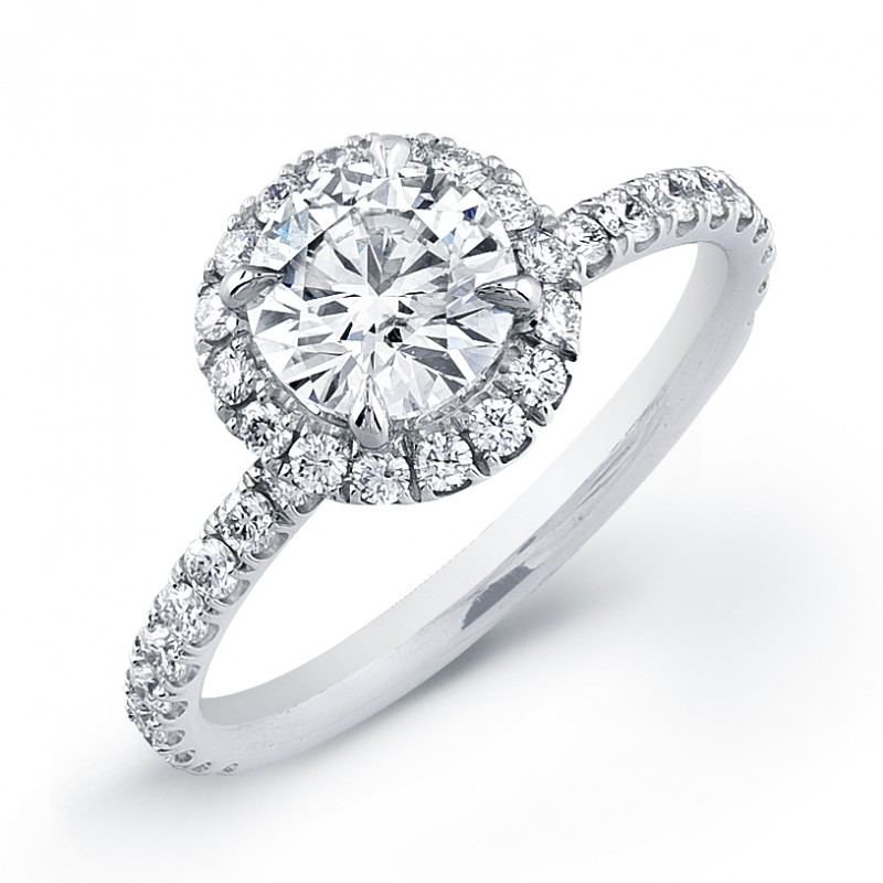 Round Halo Micro-Pave Engagement Ring