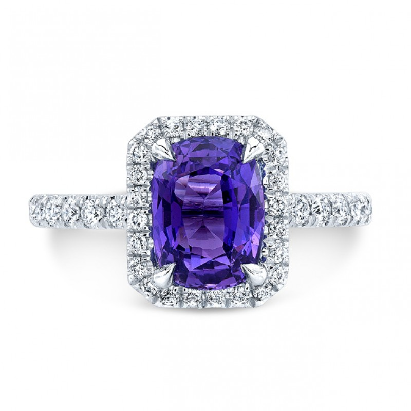 18K White Gold 1.91ct Cushion Shaped Purple Sapphire Ring