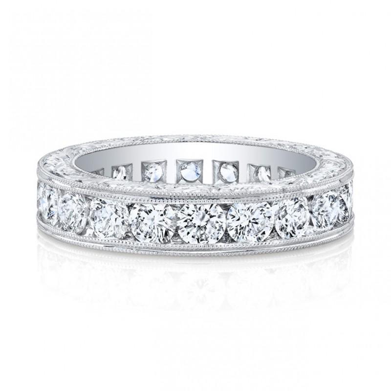 Platinum Round Cut Diamonds Channel Band