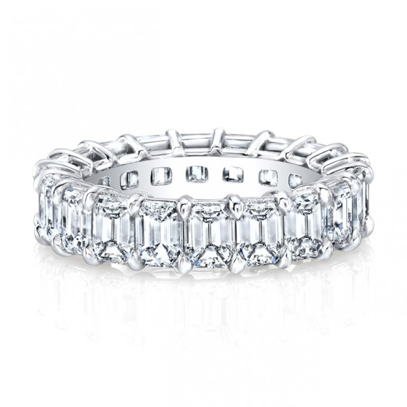 Platinum Emerald Cut Diamonds Floating Eternity Band