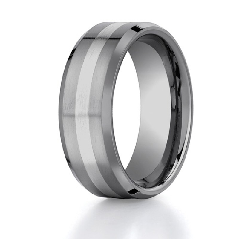 Benchmark 8mm Tungsten Carbide with 18K White Gold Ring Inlay and Beveled Edges