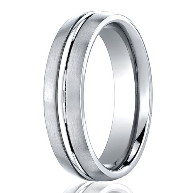 Benchmark 6mm Brushed Cobalt Chrome Ring with Polished Center Groove