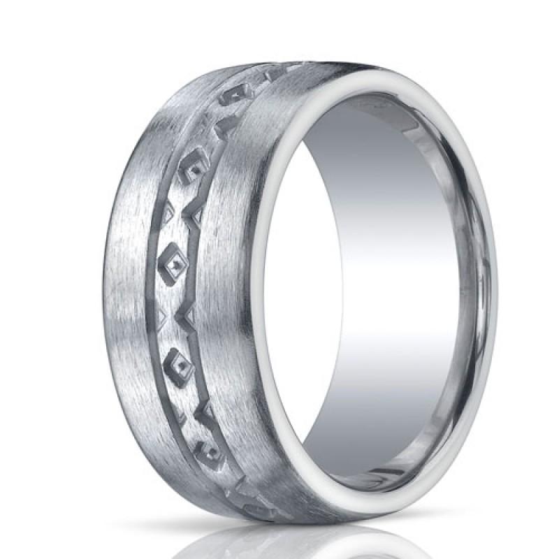 Benchmark Argentium Silver 10mm Satin X-Pattern Band
