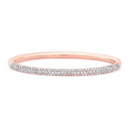 14K Rose Gold Diamond Bangle In 14K Rose Gold