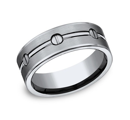 FORGE Mens Titanium Wedding Band CF68991T