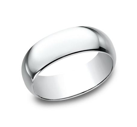 CLASSIC Mens White Gold Wedding Band 180W