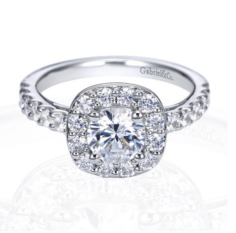 Gabriel Co 14K White Gold Vintage Halo Engagement Ring