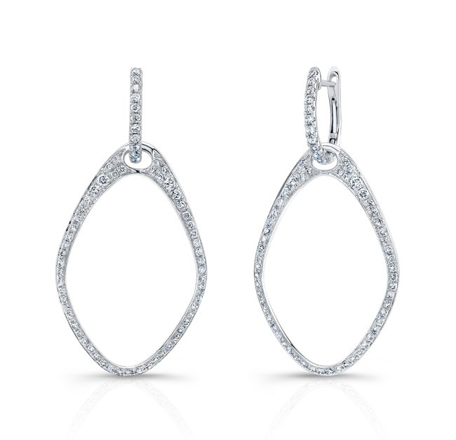 18k Teardrop Drop Diamond Hoop Earrings