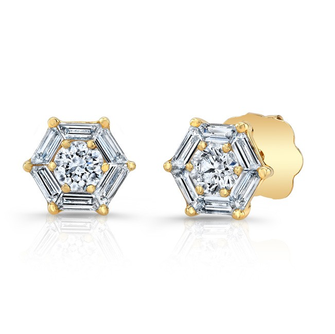 18k Hexagon Diamond Studs