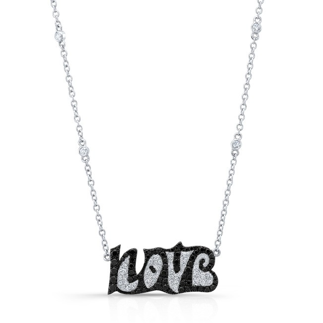 18K Love Necklace with Black & White Diamonds