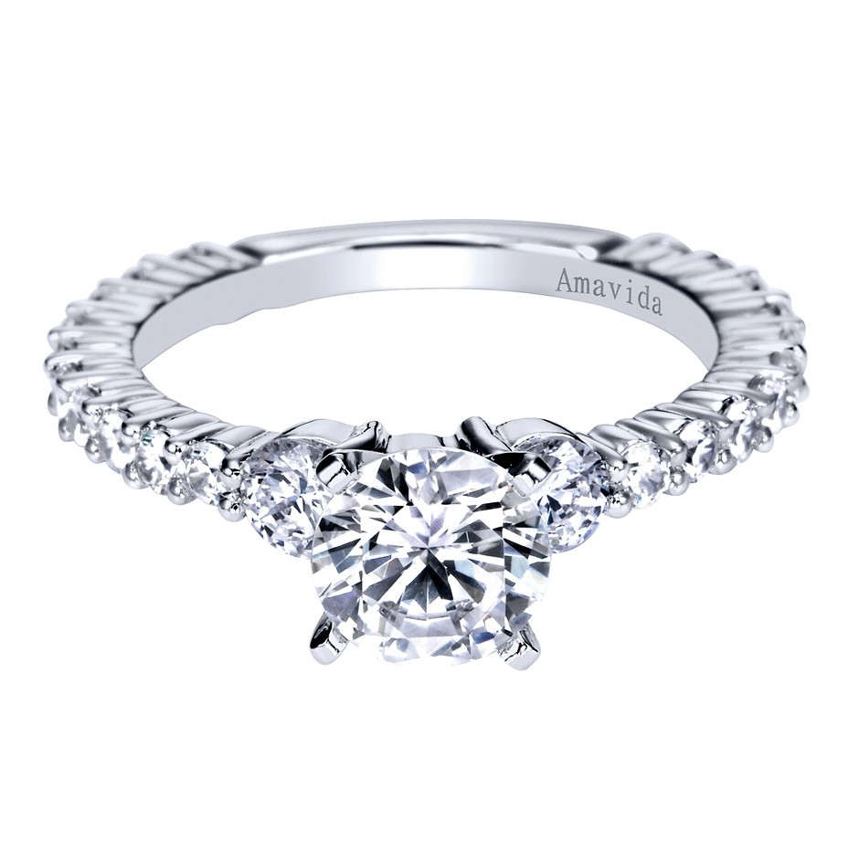Gabriel Co 14K White Gold Contemporary Eternity Engagement Ring