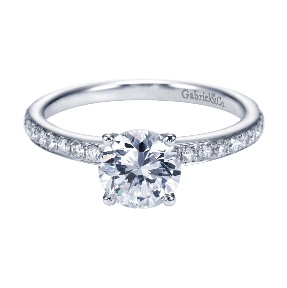 Gabriel Co 14K White Gold Straight Engagement Ring