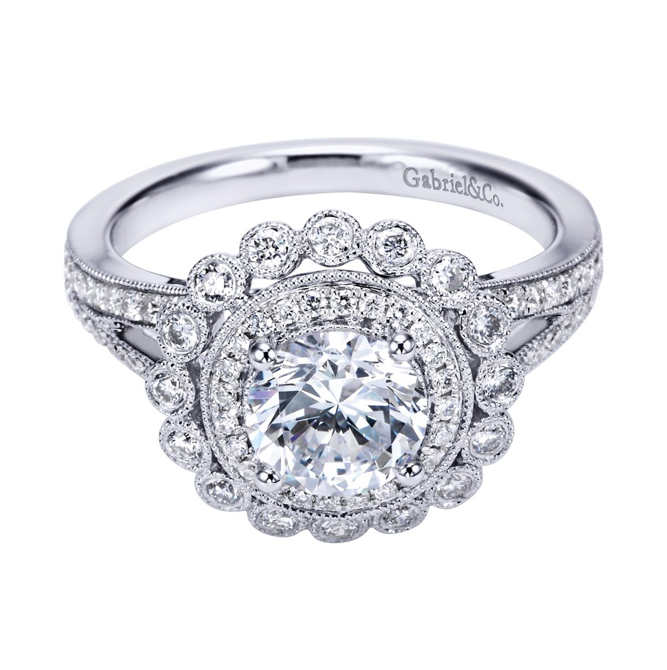 Gabriel co 14k white gold victorian halo engagement ring for Wedding ring companies