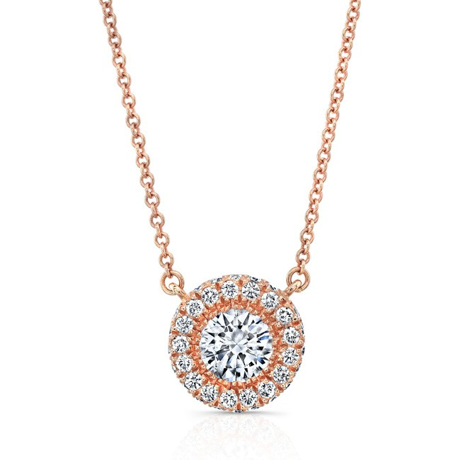 18K Edgeless Diamond Halo Necklace