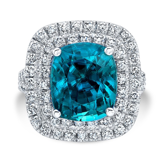 18K White Gold 7.72ct Cushion Shaped Blue Zircon Ring