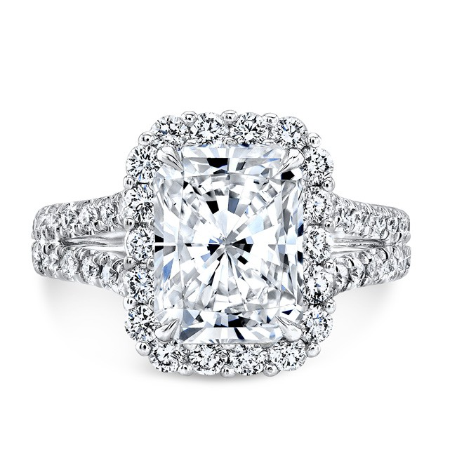 Split Shank Rectangular Halo Ring