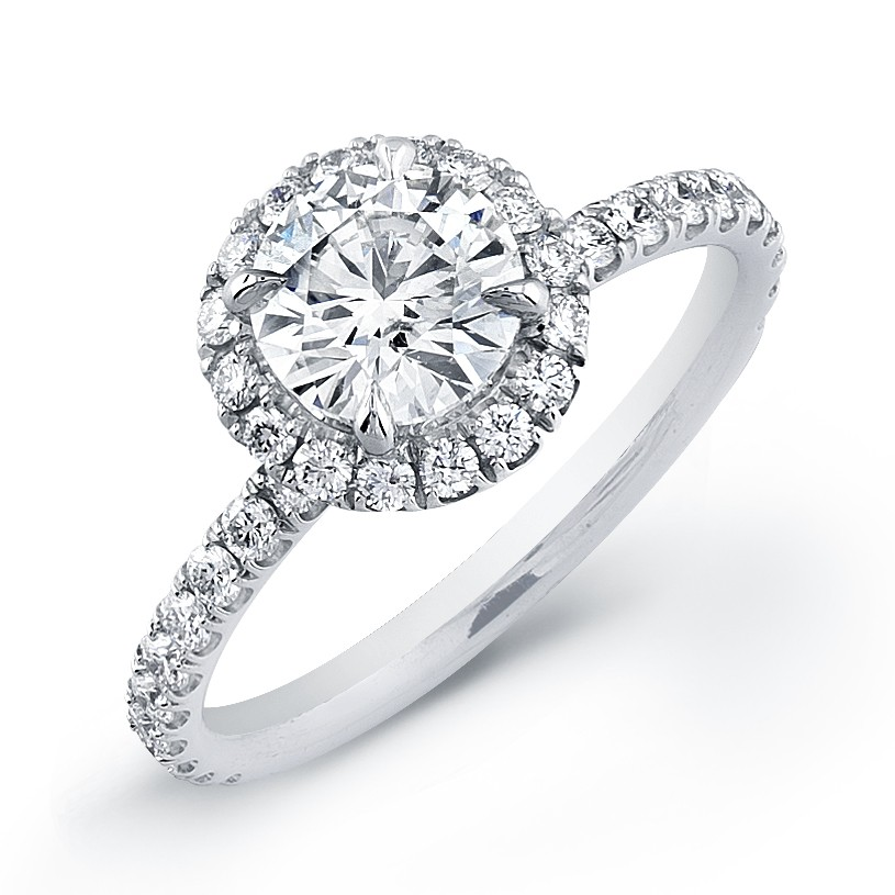 Round Halo Micro Pave Engagement Ring