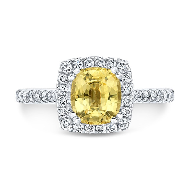 14K White Gold 1.41ct Cushion Shaped Yellow Sapphire Ring