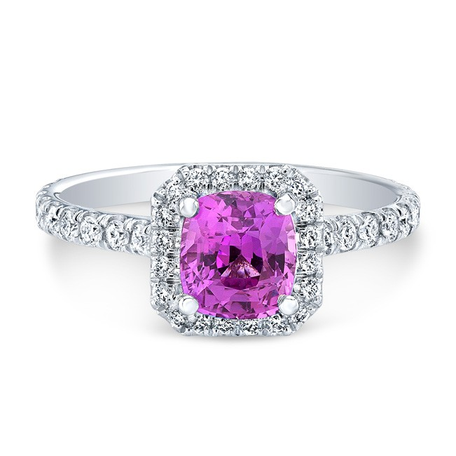 18K White Gold 1.58ct Cushion Shaped Pink Sapphire Ring