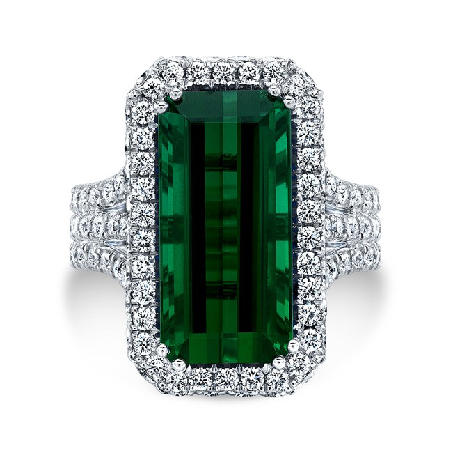 18K White Gold 10.21ct Emerald Cut Green Tourmaline Ring