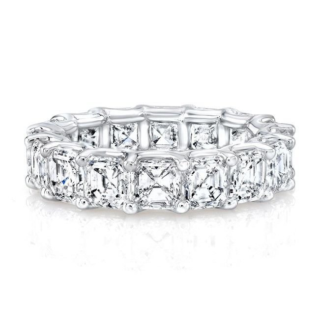 18k White Gold Asscher Cut Diamonds Floating Eternity Band
