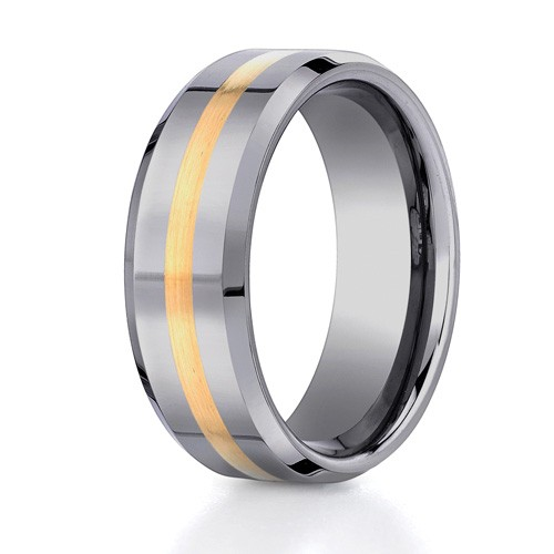 Benchmark 8mm Tungsten Carbide with 18K Yellow Gold Ring Inlay and Beveled Edges
