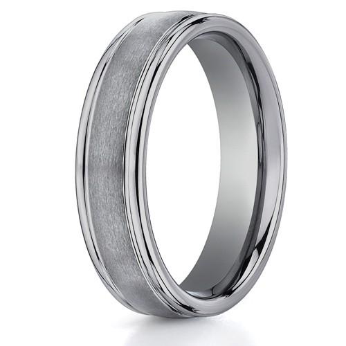 Benchmark 6mm Round Tungsten Carbide Ring with Ridged Edges