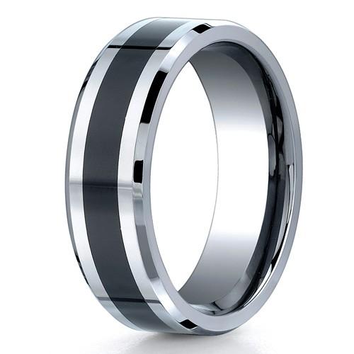 Benchmark 7mm Flat Cobalt Chrome Ring with Seranite Center